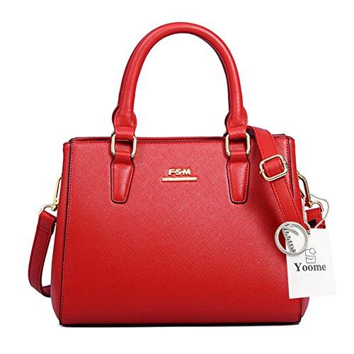 Yoome Stile Alle Stile Croce Pattern Top Handle Satchel Portafoglio Borse Donna Borse Chic Chic Crossbody - Blu Rosso