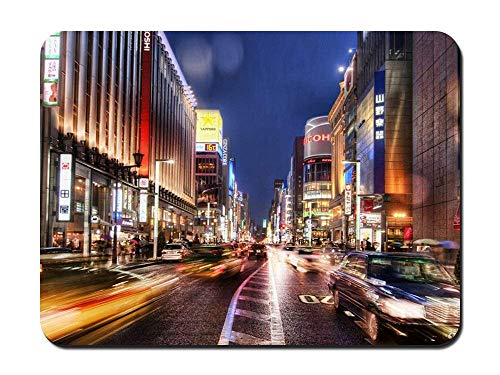 BGLKCS Tokyo Streets at Night - World- #29740 Mauspads Customized Rectangle Non-Slip Rubber Mousepad Gaming Mauspads 8.6x7.1 Inches