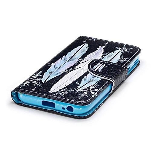 KM-WEN® Schutzhülle für Apple iPhone X (5,8 Zoll) Bookstyle Farbmalerei Serie Löwenzahn Muster Magnetverschluss PU Leder Wallet Case Flip Cover Hülle Tasche mit Standfunktion Kartenfächer für Apple iP Farbe-4
