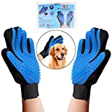 OWUDE Pet Grooming Glove - Gentle Hair Remover Mitt - Breathable Deshedding Massage Tool Bathing Brush - Enhanced Five Finger Design - Perfect for Dog & Cat with Long & Short Fur - 1 Pair (BLUE)