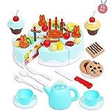 Tomasa 54 Stück Kuchen und Tee Becher Set, Kinderspielzeug Kitchen Spielzeug Kunststoff DIY Frucht Kuchen Geburtstagstorte Spielset (Grün 75PCS)