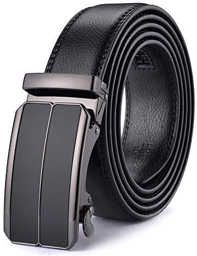 Xhtang Gürtel Herren Automatik Gürtel mit Automatikschließe-3,5cm Breite (Länge 140cm Geeignet für 44-49 taille, Schwarz81) (Herren 48 Größe Gürtel)
