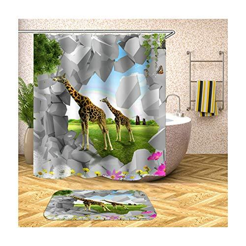 Beydodo Badematten im 2 Set 165x180 Badvorhang Anti-Schimmel, 2 Giraffen 40x60 cm Badematte WC Vorleger (Spinnen Wc Im)