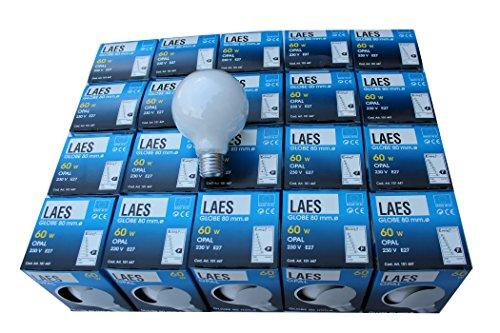§ § 20Stück Glühbirnen hergestellt in Europa Sphère 80mm Opal. 60Watt E27Schraubsockel Ende der Produktion