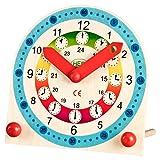 farbenfrohe Kinder-Holz-Lernuhr für Uhr Mädchen Jungen Wand-Uhr bunt ca. 18 x...