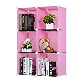 Deesjue Einfache Harzplastik Bücherregale DIY 6-Grid Portable Pink