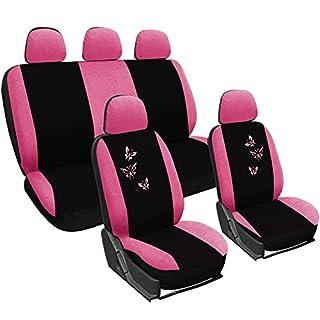 WOLTU AS7247 Sitzbezüge Auto für PKW ohne Seitenairbag, mit Butterfly, rosa