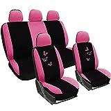 WOLTU AS7247 Universal Schonbezug Schonbezüge für Auto Sitzbezug Auflage Schutz Schoner, Butterfly Stickerei, schwarz-
