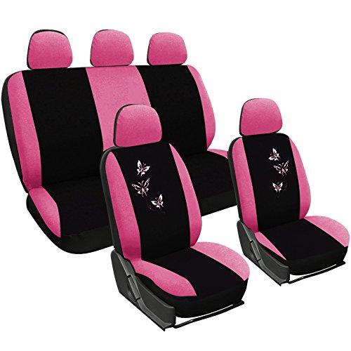 Woltu 7247-b Coprisedile Copertura Sedile Auto Seat Cover Completo Poliestere Universale Donna Farfalle Comodo Nero/Ros