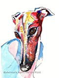 Greyhound Art Whippet Print Lurcher Italian Greyhound Painting Art Print Birthday Mothers Day Gift Stocking Filler Picture - A4, A5 Sizes - Mounting Options Available