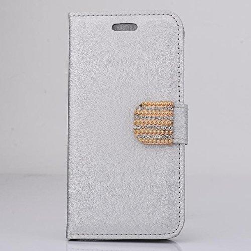"""inShang Hülle für Apple iPhone 6 iPhone 6S 4.7 inch iPhone6 iPhone6S 4.7"""", Cover Mit Modisch Klickschnalle + Errichten-in der Tasche + SILK PATTERN FLOWER DECORATION , Edles PU Leder Tasche Skins Etui diamond silver"""