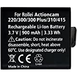 Rollei Battery AC 220, 300, 310 - Batterie au lithium-ion rechargeable pour Rollei Actioncam 220, 300, 300plus, 310, 320, 415, 416