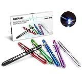 RISEMART Penlight - Penna per infermiera a LED, riutilizzabile, bianco, con pupille, misura per stetoscopio medico, confezione da 6