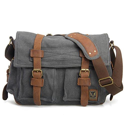 Estarer Vintage Umhängetasche Schultasche für Damen Herren Dunkel Grau