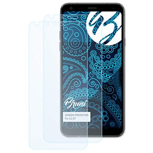 Bruni Schutzfolie kompatibel mit LG Q7 Folie, glasklare Bildschirmschutzfolie (2X)