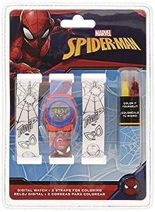 Spiderman Reloj de Pulsera Digital Correa para Pintar (MV15531), Multicolor (Kids Licensing 1)