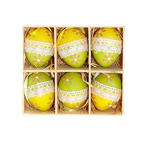 Ostereier 6 Sets Bemalte Eier Osterhänger Kunsthandwerk Dekoration Osterdeko Spielzeug für Kinder