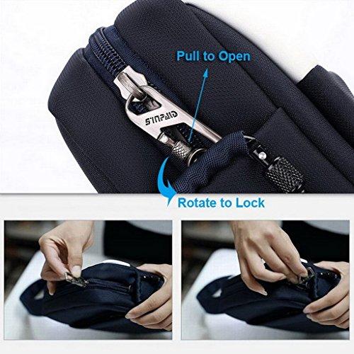 XSY Antifurto Zipper e Buckle Borsa a Tracolla Uomo Vintage Spalla Messenger Valigetta da Ufficio Nero Bianco Blu