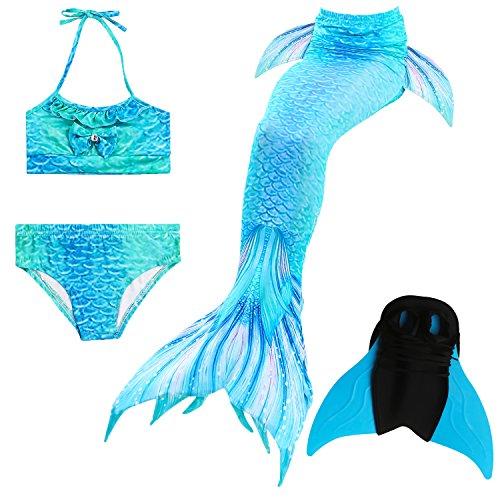 Das beste Il miglior ragazza bikini badeanzuege schoenere coda di sirena per il nuoto con sirena Pinne Nuoto Costume Coda–Un ragazza sogno A07 10 anni