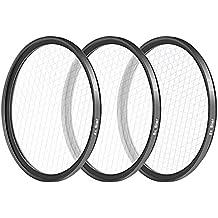 Neewer reg Kit de 3 piezas filtro estrellas 67MM para Canon Nikon cámaras réflex Digitales, de alta definición marco de cristal y aluminio, incluye filtros 4 puntos 6 puntos 8 puntos estrellas, bolsa de filtro, microfibras (negro)
