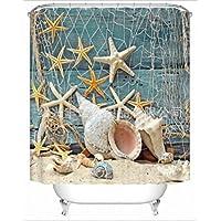 GYMNLJY tenda doccia stampa 3D digitale Shell delle stelle marine in poliestere impermeabile muffa Bagno Doccia Ombra per vasca da bagno tagliato Hanging tenda , 180*200