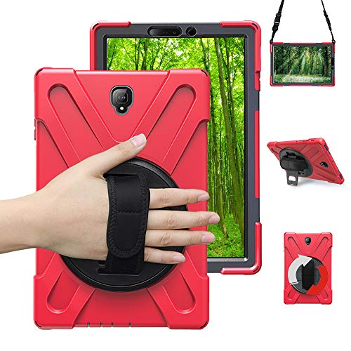 Junfire Schutzhülle für Samsung Galaxy Tab S4 T830/ T835/ T837(10,5 Zoll) 2018 Hülle,stoßfest and robust, 360 Grad drehbar, Standfunktion Hülle Rot