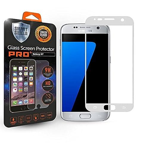 SMART Shield®–Samsung Galaxy S7protection d'écran en verre trempé Pro, une couverture complète Dureté 9H et installation facile sans bulles [Garantie à vie] (Galaxy S7Argent)