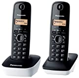 Panasonic KX-TG1612JTW Telefono Cordless DECT Doppio con Base Montabile a Parete, Nero/Bianco