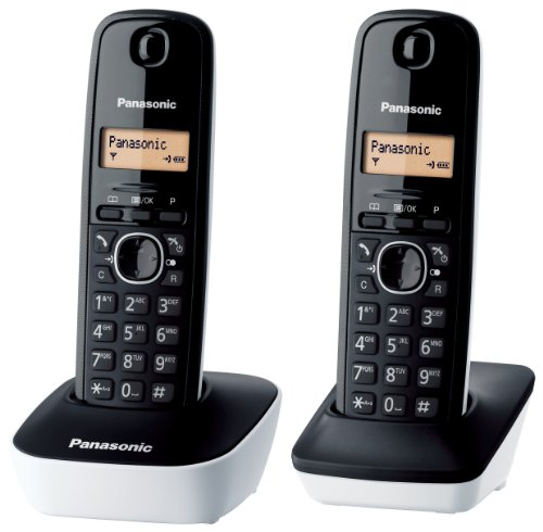 Panasonic KX-TG1612JTW Telefono Cordless, Twin Pack, Nero