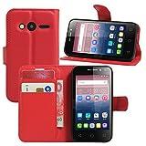 Alcatel Pixi 4 (4 Zoll) Hülle, HualuBro Premium PU Leder Wallet Flip Schutzhülle Tasche Case Cover mit Karten Slot für Alcatel Pixi 4 (4 Zoll) 4034D Smartphone (Rot)