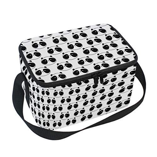 Emoya Isolierte Lunchtasche, süße schwarze Pandas Picknicktasche für Jungen Mädchen Männer Frauen (Süße Schwarze Männer)