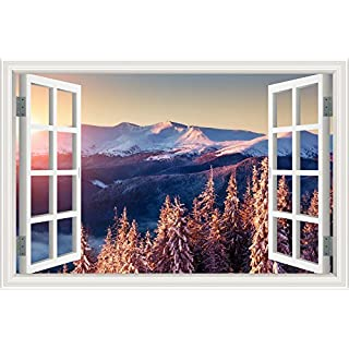 ASENART Creative Artwork Wall Sticker 3D Window Decal Early Winter Snow Scenery Removeable Peel Stick Wallpapers Vinyl for Home Living Room Decorative 20inchX28inch