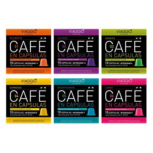 VIAGGIO ESPRESSO - 60 Cápsulas de Café Compatibles con Máquinas Nespresso. SELECCIÓN CLÁSICOS