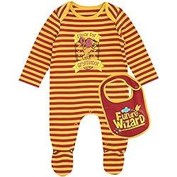 Harry Potter - Pijama Entera con babero para Niños Bebés - Gryffindor - 12 - 18 Meses