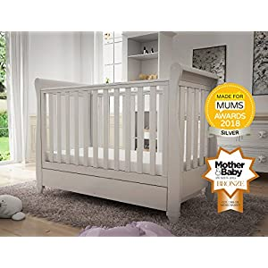 Babymore Eva Sleigh Cot Bed Dropside with Drawer (White)  Easily convert to junior bed/sofa/day bed, Meet British and European safety standards; Single handed drop side mechanism allow easy access to your baby Protective Teething rail on top of both sides. Full drawer on runner provide extra storage 12