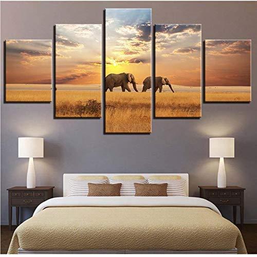 Pmhhc 5 Unidades Animales Ilustraciones De Elefantes Pintura De La Lona Decoración...