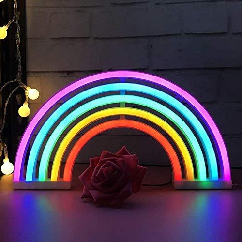 Preisvergleich Produktbild XIYUNTE NachtLicht Regenbogen Neonlichter,  Batterie oder USB betrieben LED Regenbogen Lampe führte Lichter WandDekoration für Schlafzimmer, Wohnzimmer, Weihnachten, Party als Kinder Geschenk