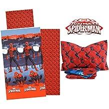 Juego de sábanas de franela con diseño de Spiderman de Marvel para cama individual.