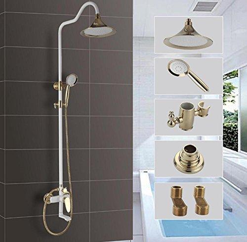 -Fall Duschkopf und Hand-Set Wand-Dusch-Combo weiß Farbe Kupfer Luxus-Regen-Mixer Dusche Combo Set Wand montiert voller Körper Abdeckung einfach zu reinigen und zu installieren (Regen Duschkopf Badewanne Combo)