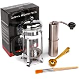 Luspan 32oz French Press Coffee Makers With Stainless Steel Manual Coffee Grinder,Free Bonus Spare Burr Lock & Cleaning Brush
