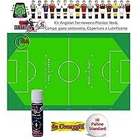 Calcio Balilla Roberto Sport Kit serie Angolari ferma vetro in plastica verdi 8 pezzi, con campo gioco sotto vetro, lubrificante e palline omaggio.