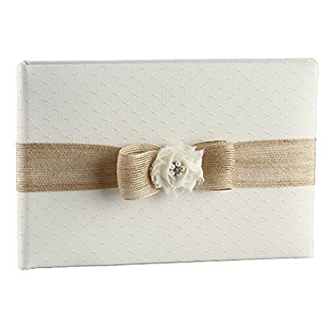 Ivy Lane Design Miranda Collection Guest Book, 10.5-Inch by 6-Inch, Ivory