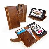 Tuff-Luv Étui housse-Portefeuille en cuir Vintage pour Blackberry Z10 (Protecteur d'ecran gratuit)- Marron