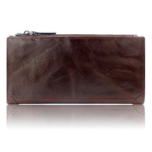 WOCACHI Herren Geldbörsen Männer echtes Leder Mappen Leder-Kredit / ID-Kartenhalter Geldbeutel Reißverschluss Mappe (A-Gelb) Kaffee