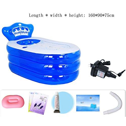 Yugang aufblasbare wanne Aufblasbare Badewanne Erwachsenen Portable Faltbare PVC Spawanne mit Luftpumpe Badesets für unterwegs faltbar Badewanne für Babys (Farbe : B, größe : 160 * 90 * 75cm)