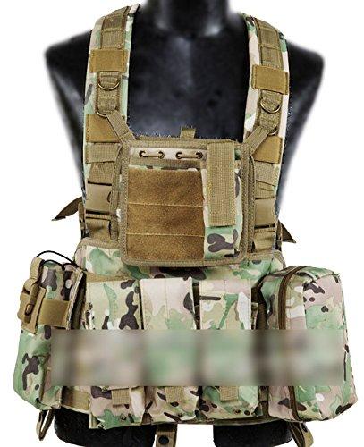 WorldShopping4U Militaire Armée Assault Combat Gilet Entraînement Protecteur Sécurité Gilet avec Poche (Multicam MC) pour Tactique de Chasse Airsoft Extérieur Camping CS Guerre Jeu