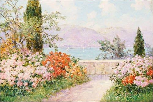Poster 91 x 61 cm: Garten der Villa Melzi am Comer See. von Friedrich Arnold/ARTOTHEK - hochwertiger Kunstdruck, neues Kunstposter