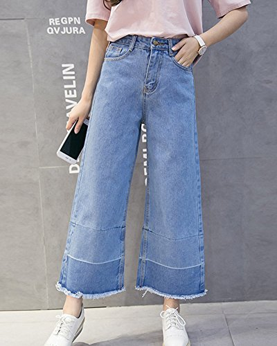 Larghi Jeans Vita Alta Da Donna Jeans Denim Jeans Pantaloni Jeans Azzurro Chiaro