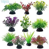 Goodn 10 piezas de imitación de plástico para plantas de hierba de agua, decoración para pecera, acuario