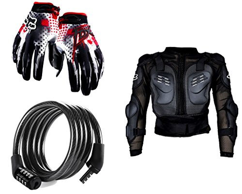 Auto Pearl Premium Quality Bike Accessories Combo of Fox Hand Grip Glove Black & Red 1 Pair. & Cable Lock For Bicycle/Bike/Helmet/Luggage etc. & Fox Riding Gear Body Armor Protective Jacket For Bike - Black -Xtra Xtra Large.  available at amazon for Rs.1978